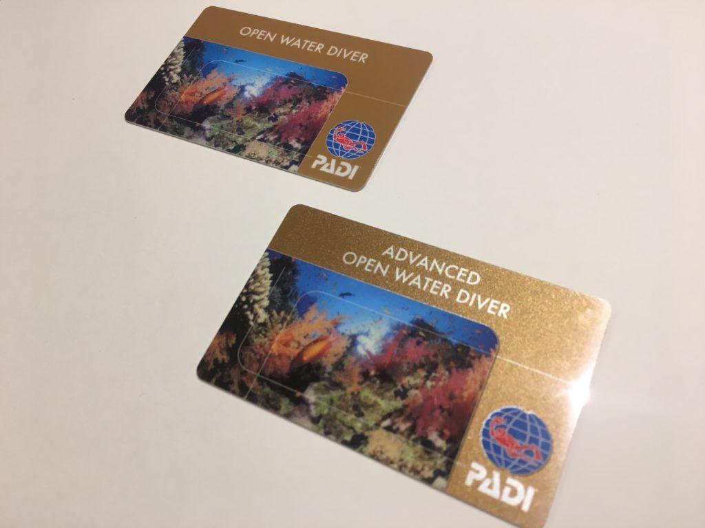 PADIのCカード。OWとAOW