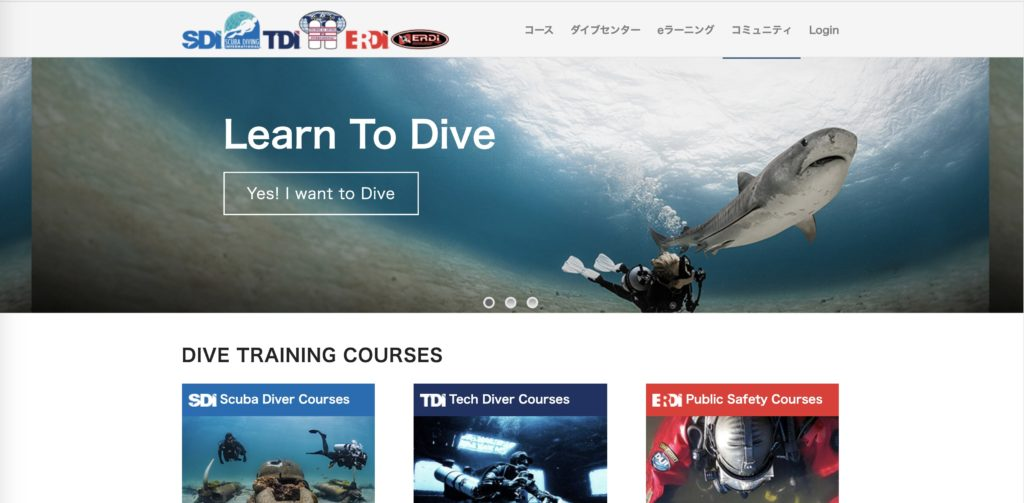 SDIのウェブサイトのトップページ